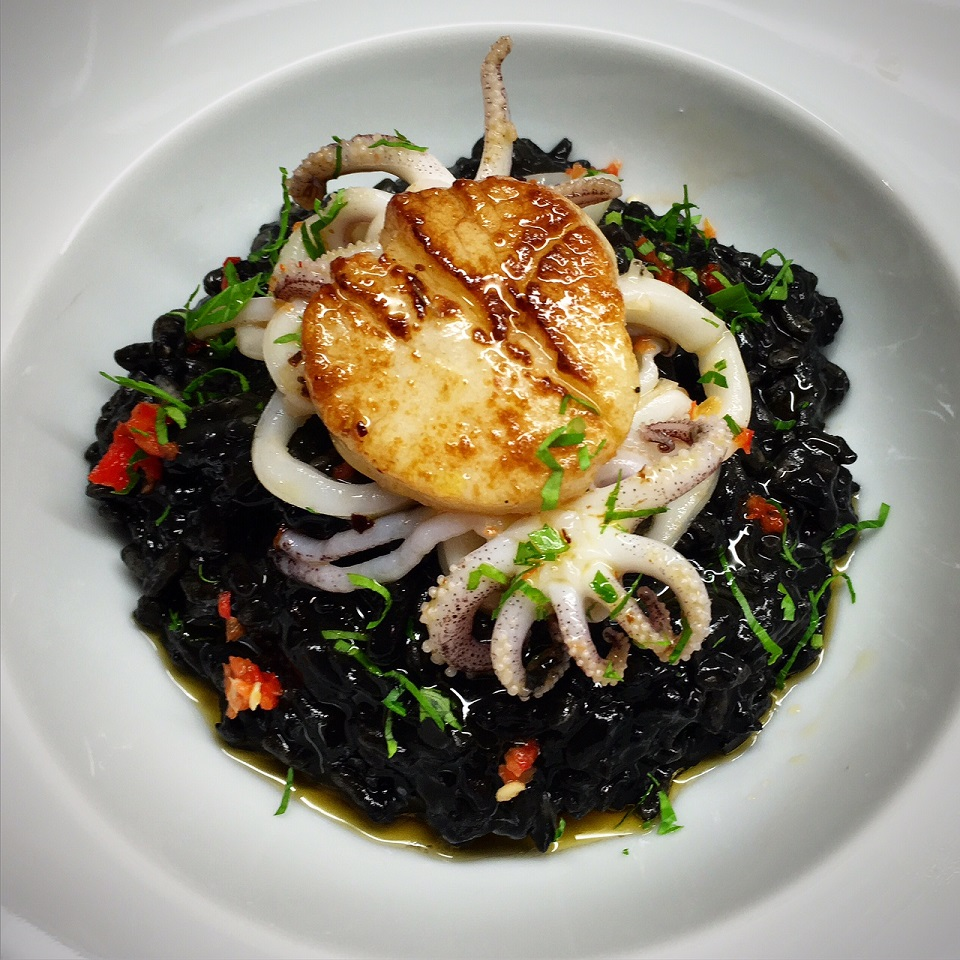 Squid Ink Risotto with Scallops, Baby Squid and Chilli Oil ...