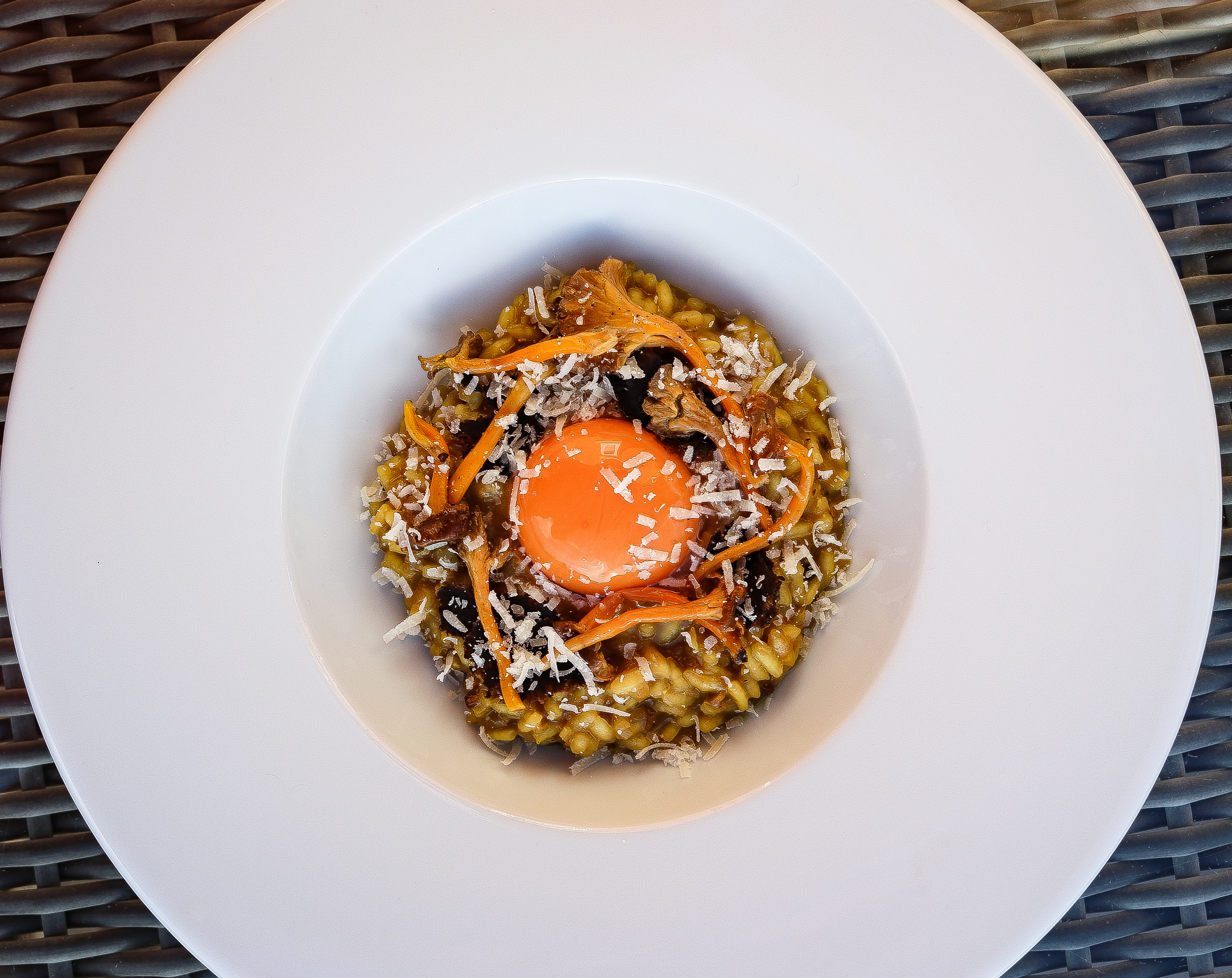 Winter Chanterelle Risotto with Black Truffle and Smoked Confit Egg Yolk