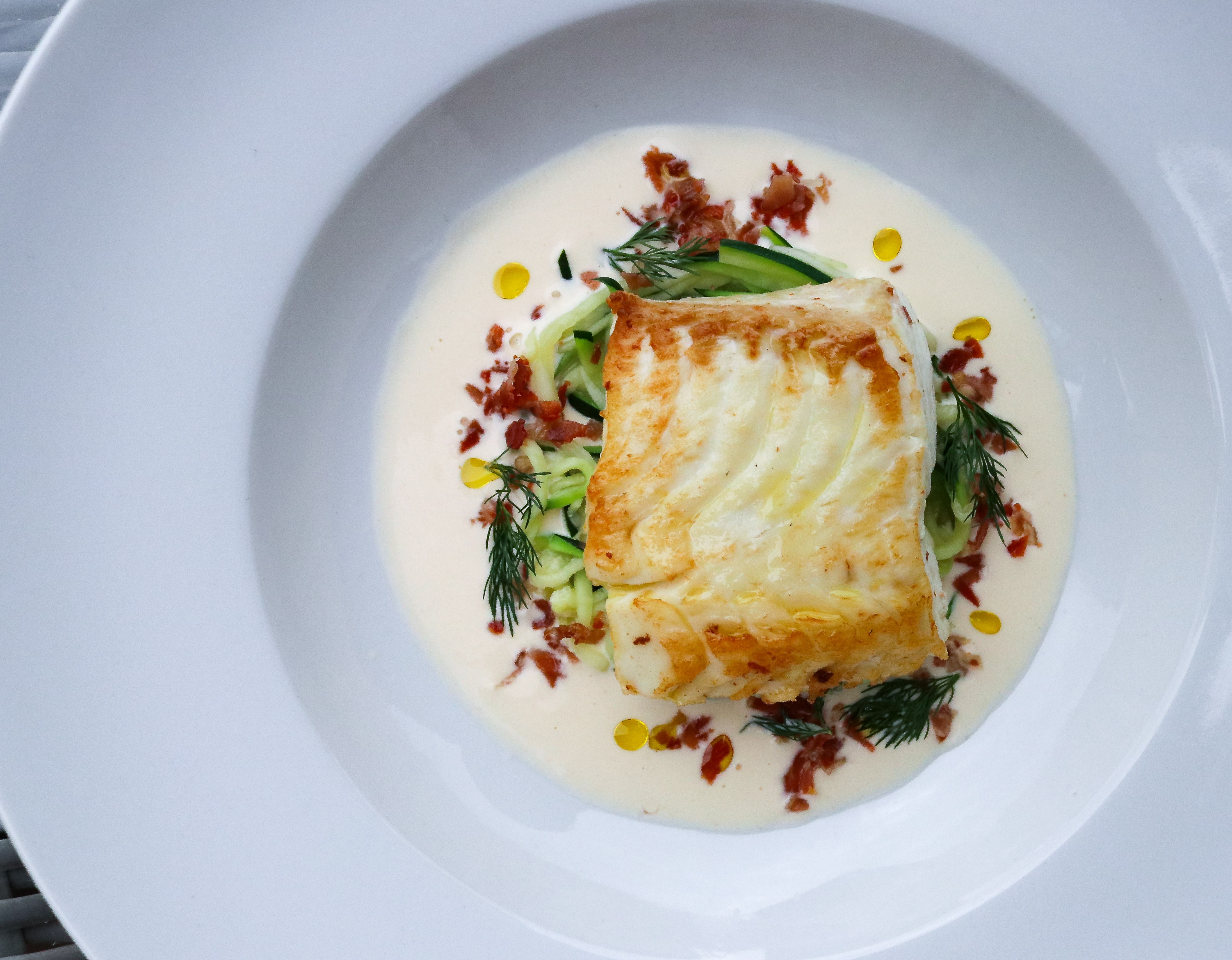 Halibut with Courgette and Serrano in a Lemon and Dill Cream Sauce