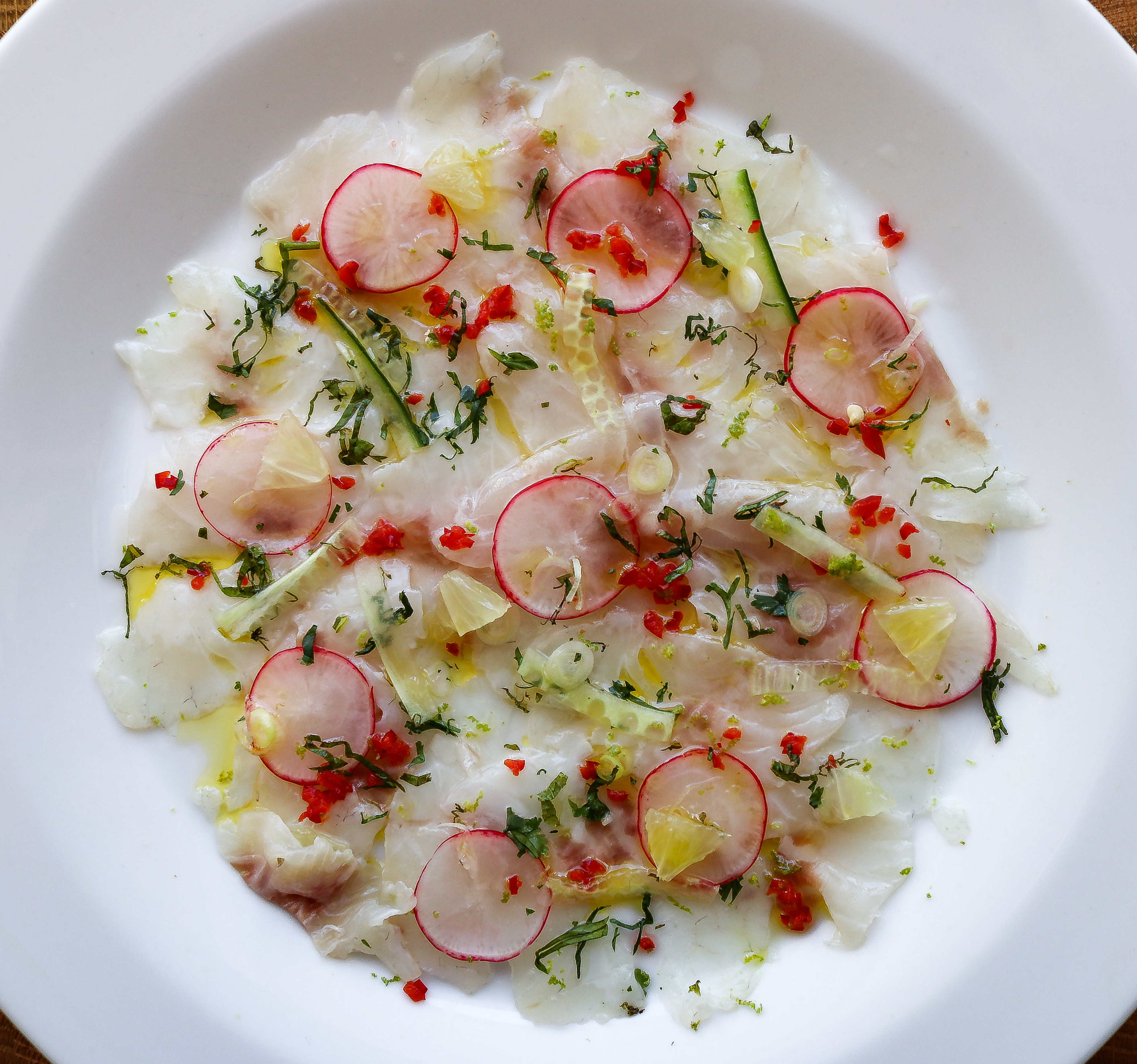 Sea Bass Ceviche with Chilli, Cucumber, Radish and Lime