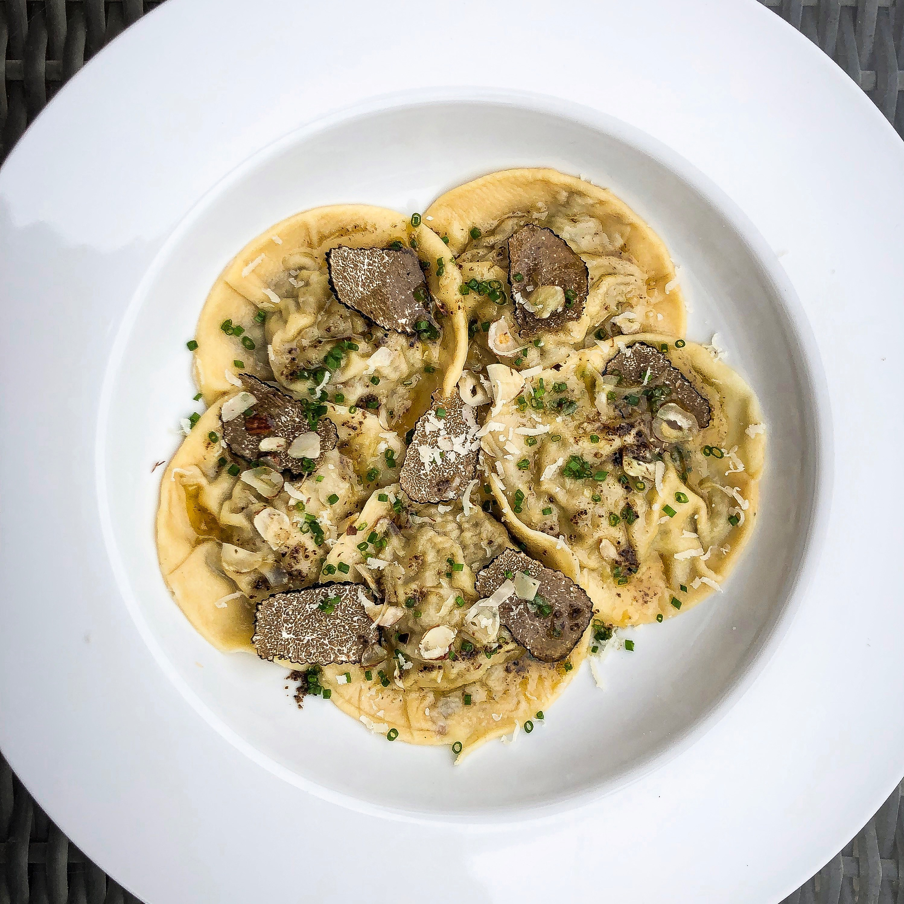 Wild Mushroom Ravioli with Summer Truffle Butter and Hazelnuts