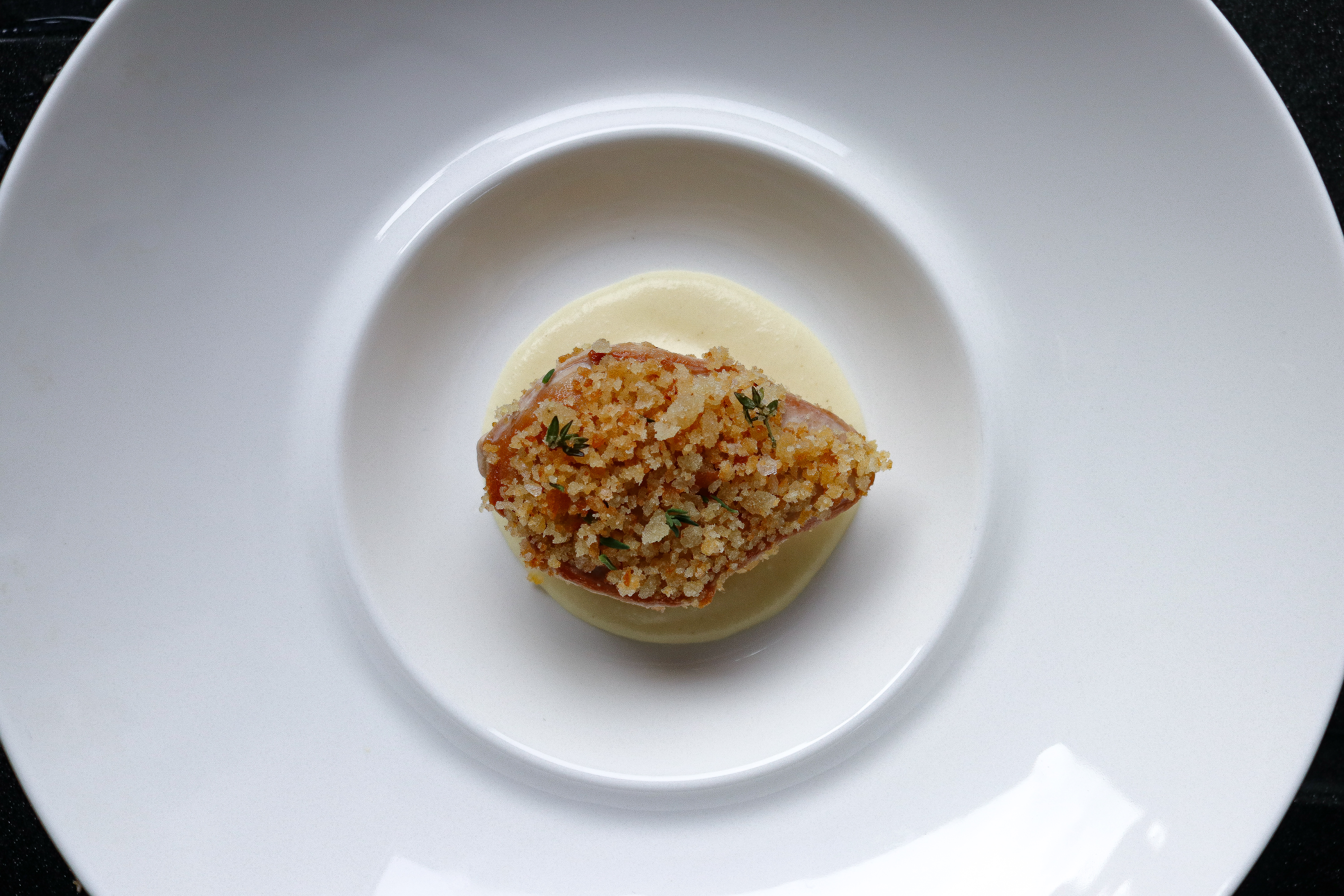Partridge with Parsnip Puree, Leek and an Iberico and Thyme Crumb