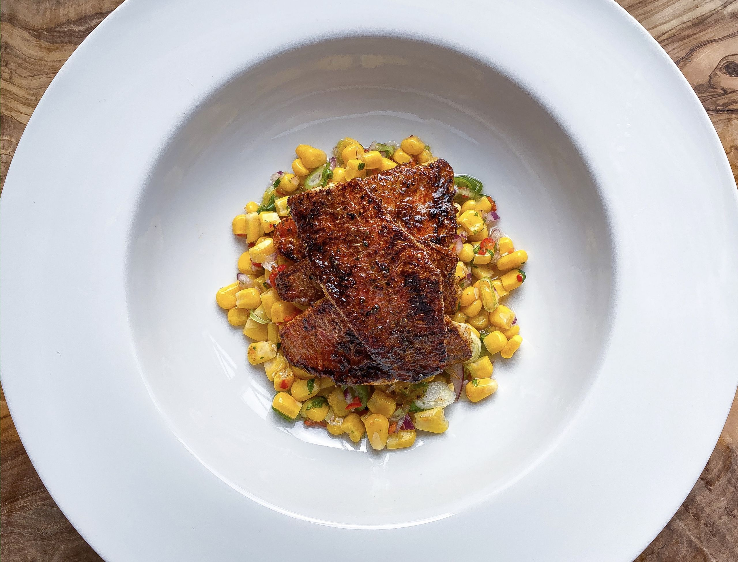 Cajun Red Mullet with Sweetcorn Salsa