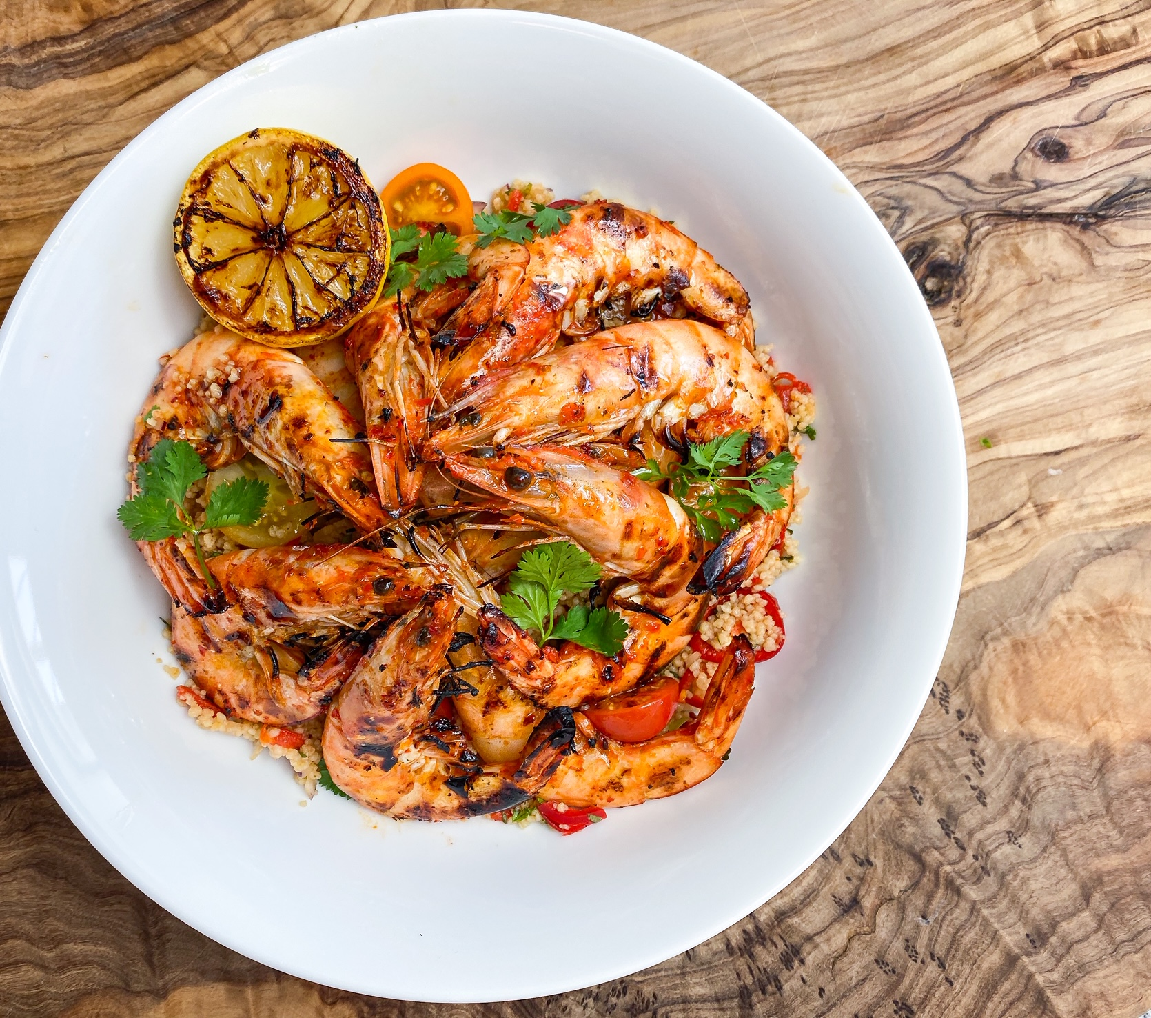 Barbecued Piri Piri Prawns on Roasted Pepper Cous Cous