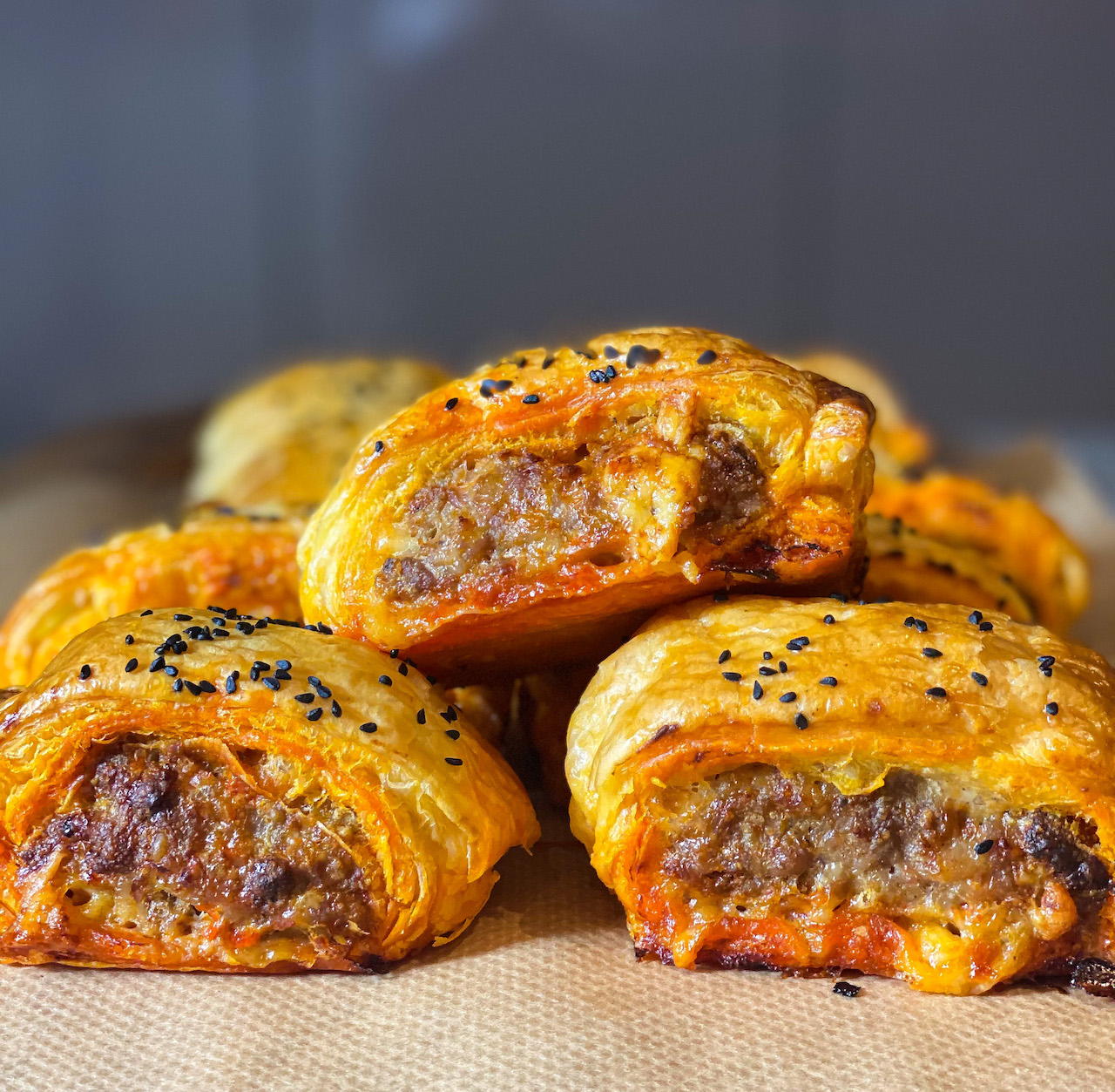 Nduja and Applewood Smoked Cheddar Sausage Rolls